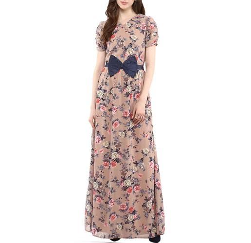 Beige Georgette Maxi Dress