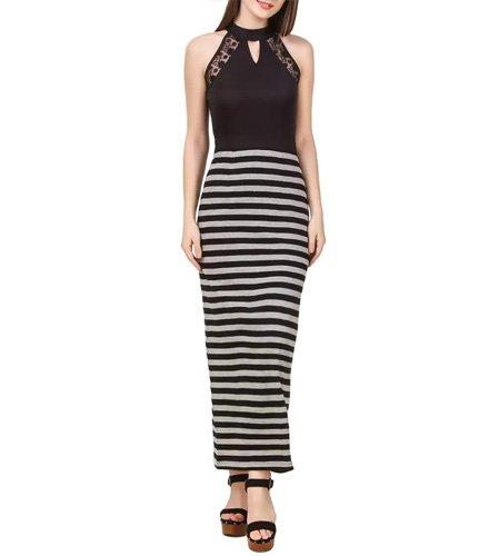 Black Cotton Blend Maxi Dress