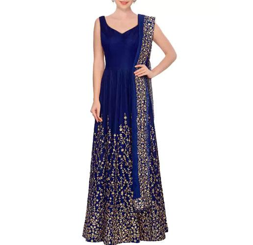 Blue Art Silk Embroidered Anarkali Semi-Stitched Suit