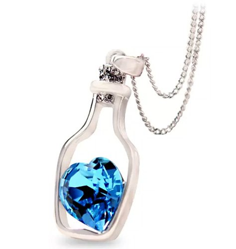 Blue Heart Crystal Pendant Necklace For Girls