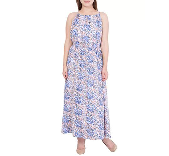 Blue Printed Poly Crepe Maxi Dress