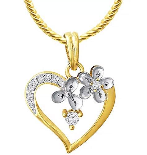 Diamond Beautiful Flower Pendant With Chain Aip 134