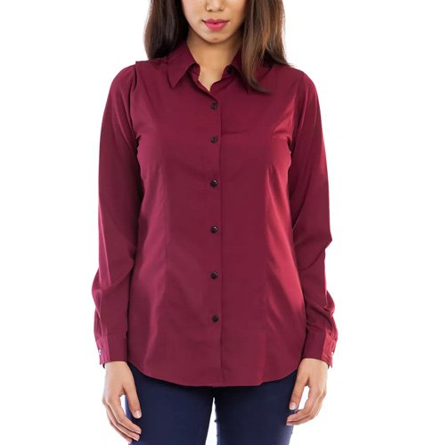 Femninora Women's Solid Formal Brown Shirt