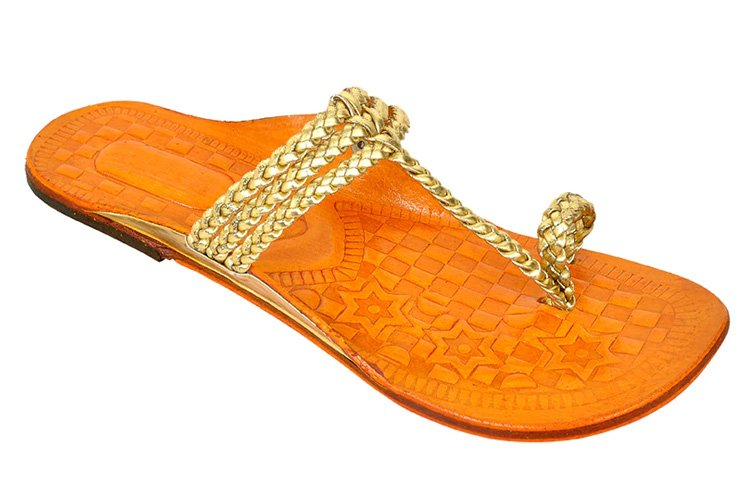 Gold Leather One Toe Kolhapuris