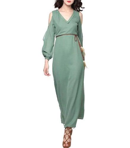 Green Georgette Maxi Dress