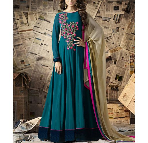 Green Georgette Semi-Stitched Suit