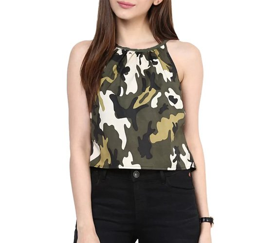 Green Printed Crepe Crop Top