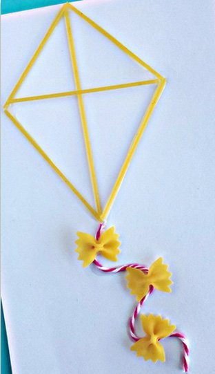 Kite Craft With Pasta Designs
