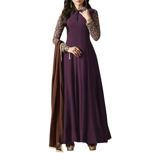 Purple Semi-Stitched Anarkali Suit