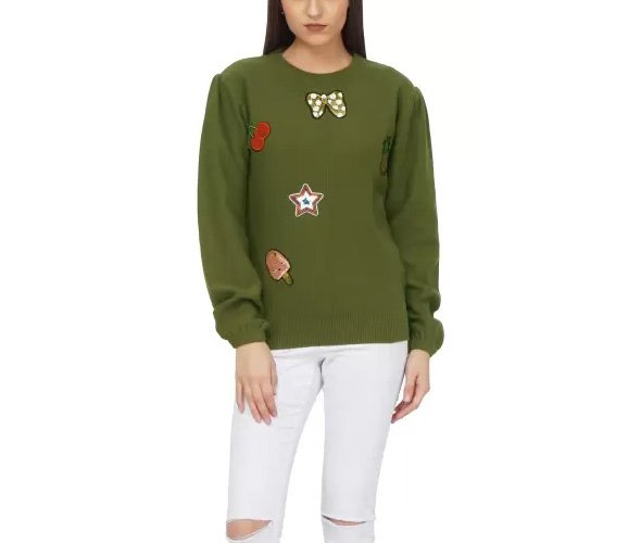 Saint gauge Round Neck Embroidered Women Pullover
