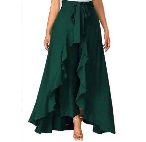 Slenor Solid Women's Layered Dark Green Skirt