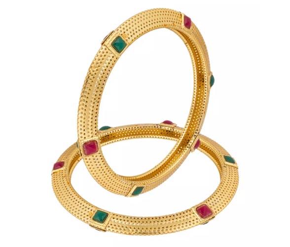 Stone Studded Gold Plated Bangle Set