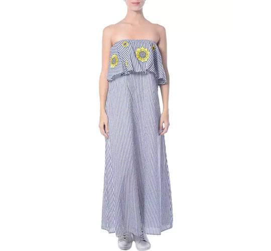 Striped Blue Cotton Ruffle Dress
