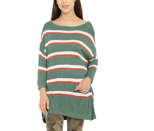 Striped Round Neck Casual Women Red, Green Sweater