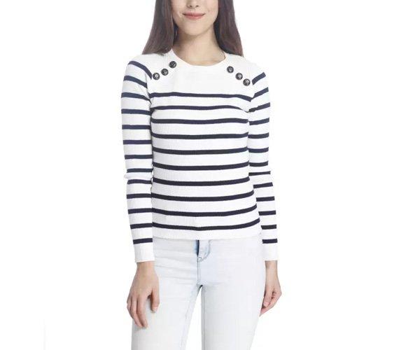 Vero Moda Striped Round Neck Casual Women White Sweater