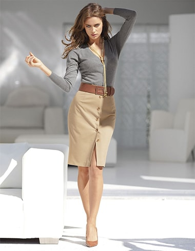 Camel Pencil Skirt Outfit