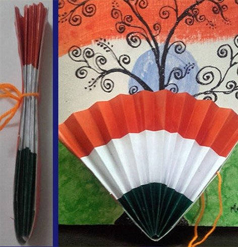 Indian Tricolor Paper Fan