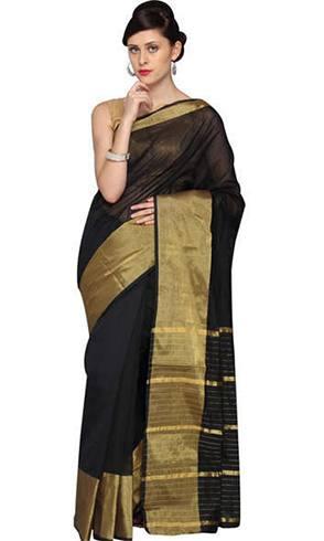 Makar Sankranti Black Saree
