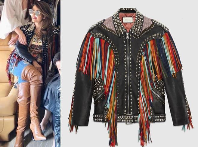Natasha Poonawalla in Gucci fringe leather jacket