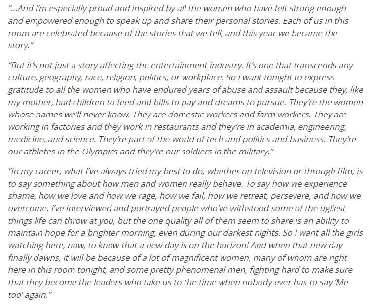 Oprah Winfrey Speech Transcript