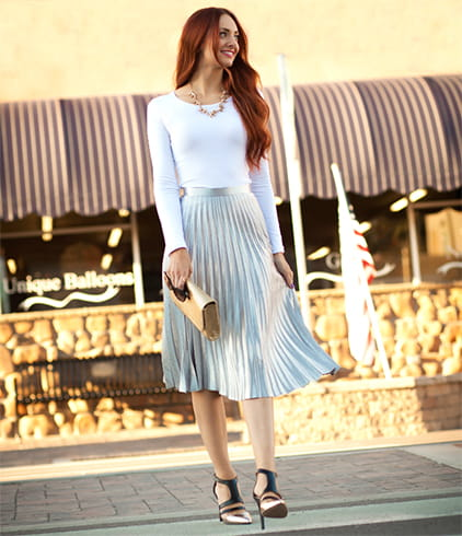 Pleated Skirt And White Top