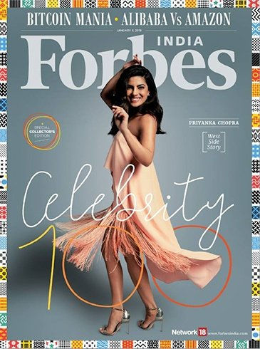 Priyanka Chopra on Forbes Celebrity 100 List Cover January 2018