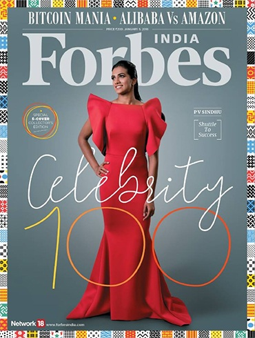 PV Sindhu on Forbes Celebrity 100 List Cover January 2018