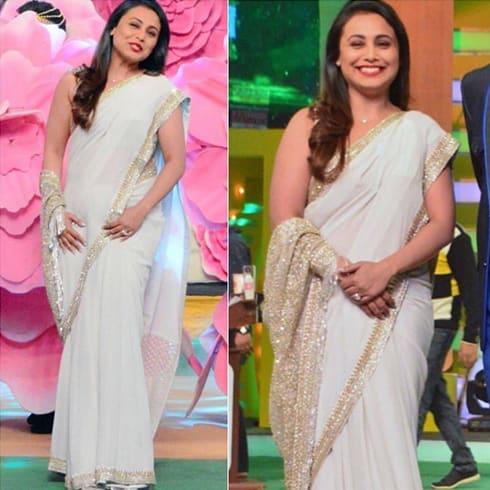 Rani Mukerji in white Sabyasachi sari