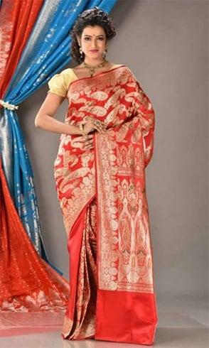 Silk sari for Pongal