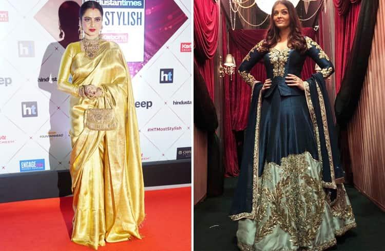 Rekha and Aishwarya Rai at HT Most Stylish Awards 2018