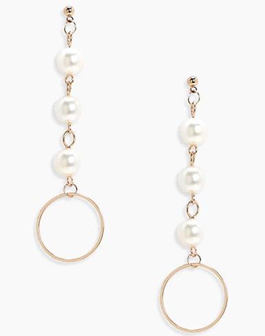Rosie Pearl Drop Circle Earrings In Gold