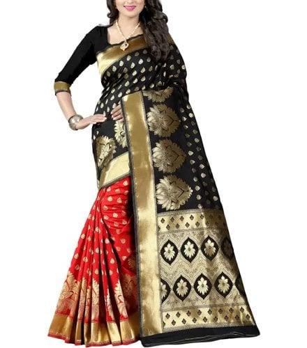 shoppershopee Woven Kanjivaram Banarasi Silk Saree