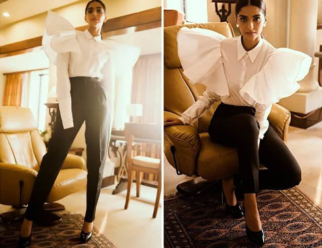 Sonam in Kojak Studio top Yves Saint Laurent pants