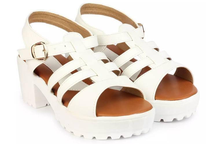 White Smart Casual Block Heels