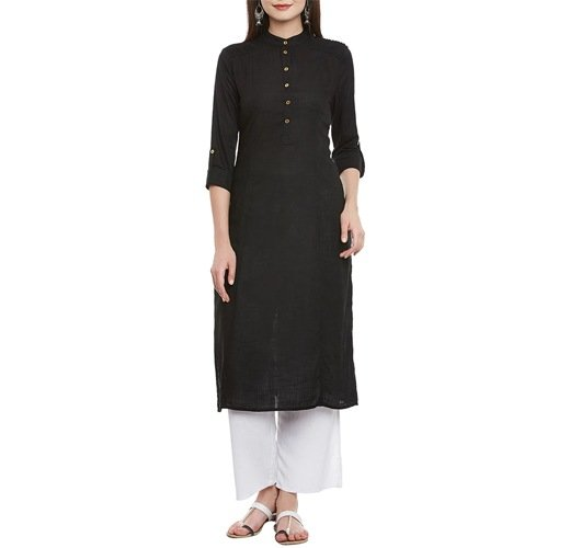 Black Cotton Solid Straight Kurta With Roll Up Sleeve
