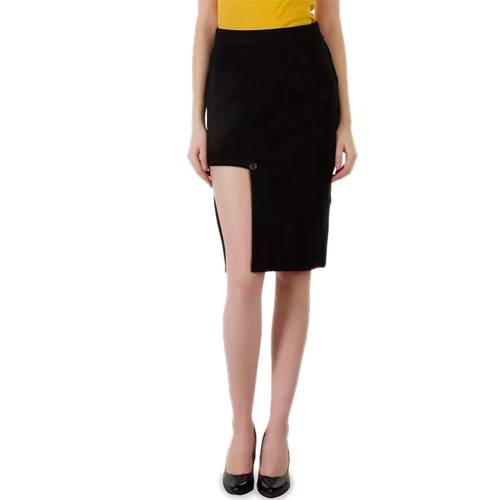 Black Cutout Cotton Lycra Skirt