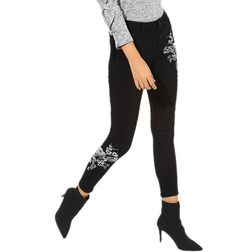 Black Embroidered Mid Rise Skinny Fit Jeans