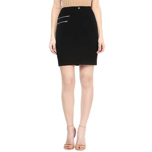 Black Lycra Pencil Skirt