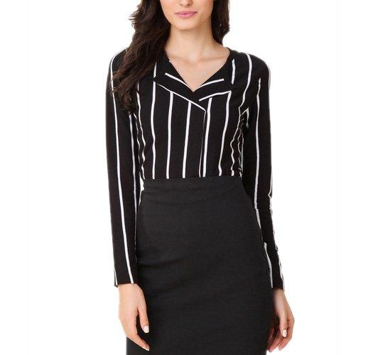 Black Striped Blouse