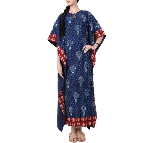 Blue Printed Cotton Kaftan