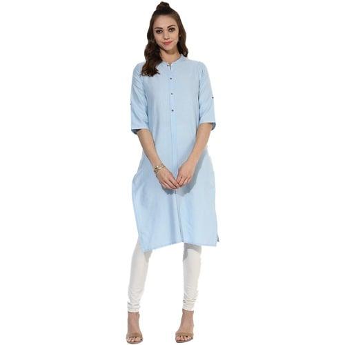 Blue Solid Cotton Blend Kurta Online