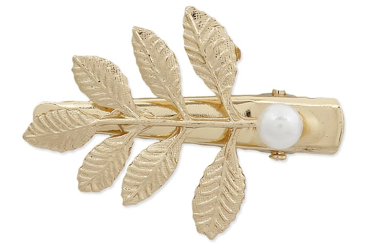 Blueberry Leaf Shaped Gold Hair Clip
