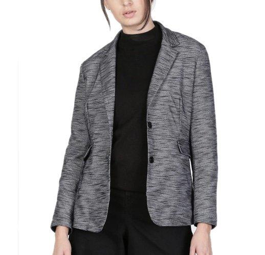 Charcoal Grey Melange Single-Breasted Casual Blazer