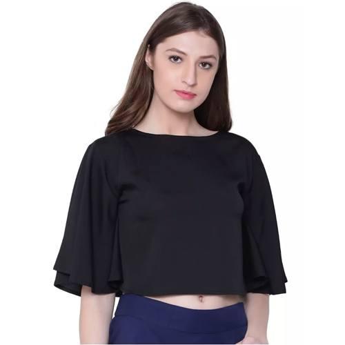 Fabinbox Women Kaftan Style Black Crop Top