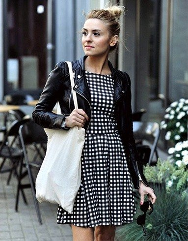 Gingham Dress With A Black Leather Jacket