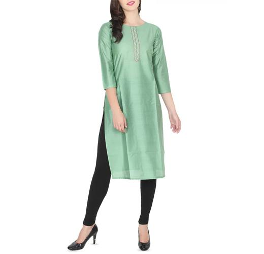 Green Chanderi Straight Kurta