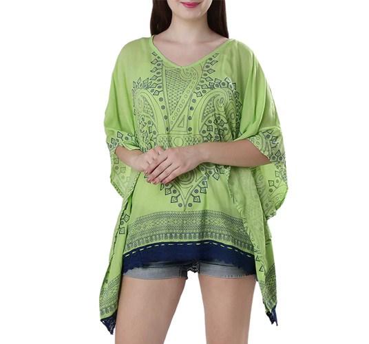 Green Printed Rayon Kaftan