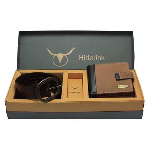 Hidelink Genuine Leather Belt & Wallet Combo for Men