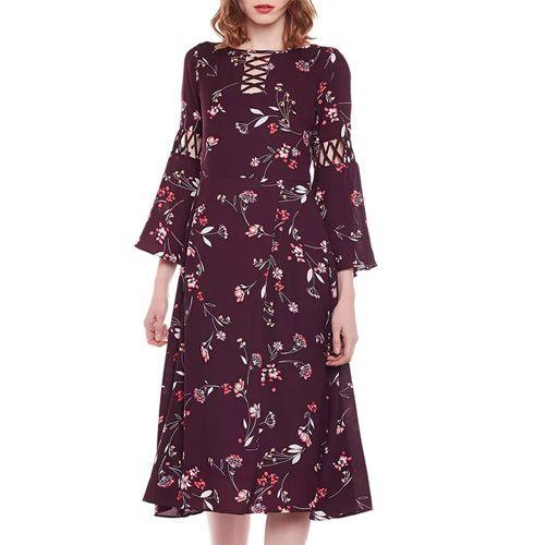 Maroon Georgette A-Line Dress
