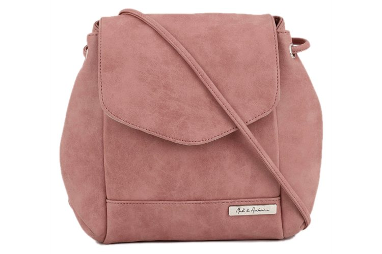Peach Synthetic Leather Sling Bag